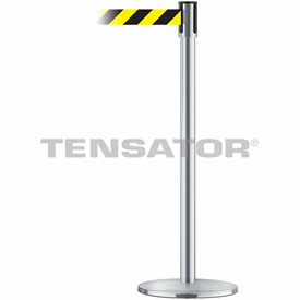 Tensabarrier Satin Stainless Slimline 7.5'L Black/Yellow Chevron Retractable Belt Barrier