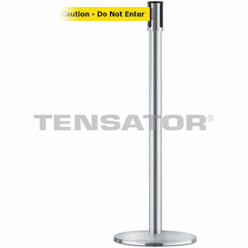 Tensabarrier Satin Stainless Slimline 7.5'L BLK/YLW Caution-Do Not Enter Retractable Belt Barrier