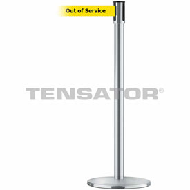 Tensabarrier Satin Stainless Slimline 7.5'L BLK/YLW Out of Service Retractable Belt Barrier