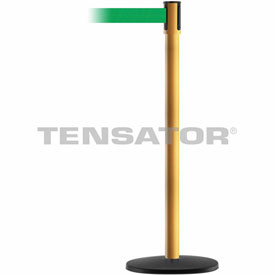 Tensabarrier Yellow Slimline 7.5'L Green Retractable Belt Barrier