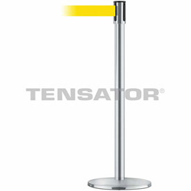 Tensabarrier Satin Stainless Slimline 7.5'L Yellow Retractable Belt Barrier