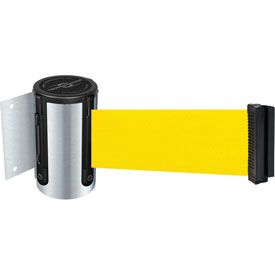 Tensabarrier Satin Chrome Mini Wall Mount 13'L Yellow Retractable Belt Barrier