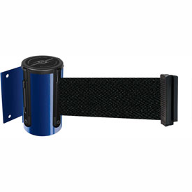 Tensabarrier Blue Mini Wall Mount 13'L Black Retractable Belt Barrier