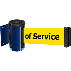 Tensabarrier Blue Mini Wall Mount 13'L BLK/YLW Out of Service Retractable Belt Barrier