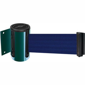 Tensabarrier Green Mini Wall Mount 13'L Blue Retractable Belt Barrier