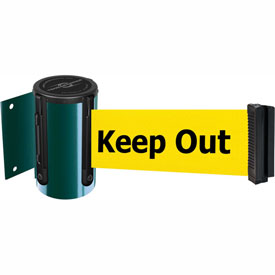 Tensabarrier Green Mini Wall Mount 13'L BLK/YLW Danger-Keep Out Retractable Belt Barrier