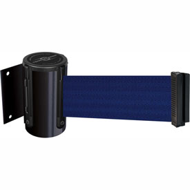 Tensabarrier Black Mini Wall Mount 13'L Blue Retractable Belt Barrier