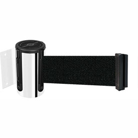 Tensabarrier Pol Chrome Mini Wall Mount 7.5'L Black Retractable Belt Barrier