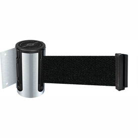 Tensabarrier Satin Chrome Mini Wall Mount 7.5'L Black Retractable Belt Barrier