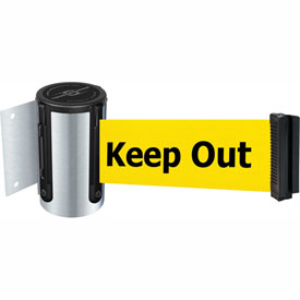 Tensabarrier Satin Chrome Mini Wall Mount 7.5'L BLK/YLW Danger-Keep Out Retractable Belt Barrier
