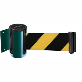 Tensabarrier Green Mini Wall Mount 7.5'L Black/Yellow Chevron Retractable Belt Barrier