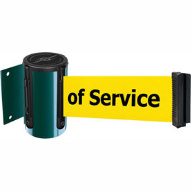 Tensabarrier Green Mini Wall Mount 7.5'L BLK/YLW Out of Service Retractable Belt Barrier