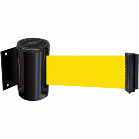 Tensabarrier Black Mini Wall Mount 7.5'L Yellow Retractable Belt Barrier