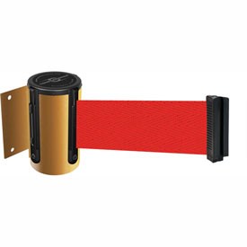 Tensabarrier Yellow Mini Wall Mount 7.5'L Red Retractable Belt Barrier