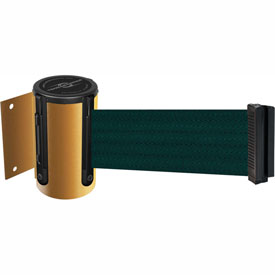 Tensabarrier Yellow Mini Wall Mount 7.5'L Green Retractable Belt Barrier