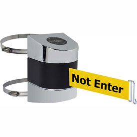 Tensabarrier Pol Chrome Clamp Wall Mount 15'L BLK/YLW Caution-Do Not Enter Retractable Belt Barrier