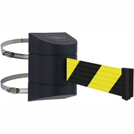Tensabarrier Clamp Wall Mount 15' L Retractable Belt Barrier, Black/Yellow