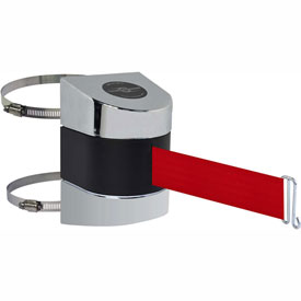 Tensabarrier Pol Chrome Clamp Wall Mount 30'L Red Retractable Belt Barrier