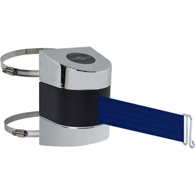 Tensabarrier Pol Chrome Clamp Wall Mount 30'L Blue Retractable Belt Barrier