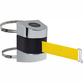 Tensabarrier Pol Chrome Clamp Wall Mount 30'L Yellow Retractable Belt Barrier