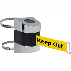 Tensabarrier Pol Chrome Clamp Wall Mount 30'L BLK/YLW Danger-Keep Out Retractable Belt Barrier
