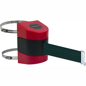 Tensabarrier Red Clamp Wall Mount 30'L Green Retractable Belt Barrier