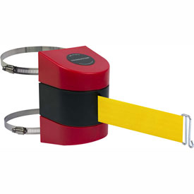 Tensabarrier Red Clamp Wall Mount 30'L Yellow Retractable Belt Barrier