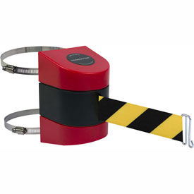 Tensabarrier Red Clamp Wall Mount 30'L Black/Yellow Chevron Retractable Belt Barrier