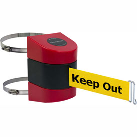 Tensabarrier Red Clamp Wall Mount 30'L BLK/YLW Danger-Keep Out Retractable Belt Barrier