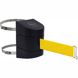 Tensabarrier Black Clamp Wall Mount 30'L Yellow Retractable Belt Barrier
