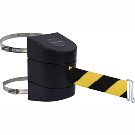 Tensabarrier Black Clamp Wall Mount 30'L Black/Yellow Chevron Retractable Belt Barrier