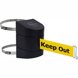Tensabarrier Black Clamp Wall Mount 30'L BLK/YLW Danger-Keep Out Retractable Belt Barrier