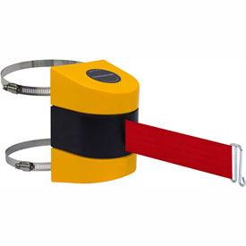Tensabarrier Yellow Clamp Wall Mount 30'L Red Retractable Belt Barrier