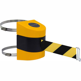 Tensabarrier Yellow Clamp Wall Mount 30'L Black/Yellow Chevron Retractable Belt Barrier