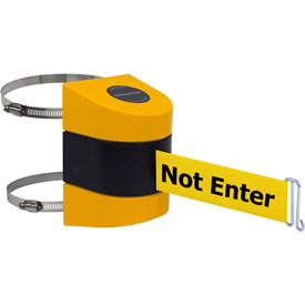 Tensabarrier Yellow Clamp Wall Mount 30'L BLK/YLW Caution-Do Not Enter Retractable Belt Barrier