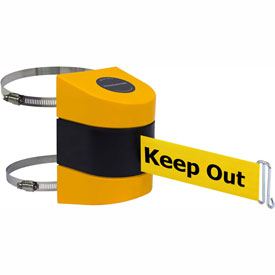 Tensabarrier Yellow Clamp Wall Mount 30'L BLK/YLW Danger-Keep Out Retractable Belt Barrier