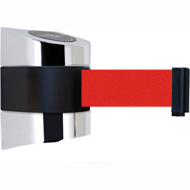 Tensabarrier Pol Chrome Wall Mount 30'L Red Retractable Belt Barrier