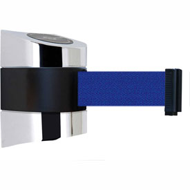 Tensabarrier Pol Chrome Wall Mount 30'L Blue Retractable Belt Barrier