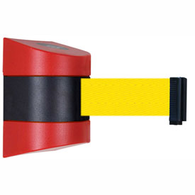 Tensabarrier Red Wall Mount 30'L Yellow Retractable Belt Barrier
