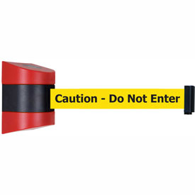 Tensabarrier Red Wall Mount 30'L BLK/YLW Caution-Do Not Enter Retractable Belt Barrier