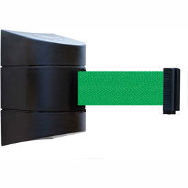 Tensabarrier Black Wall Mount 30'L Green Retractable Belt Barrier