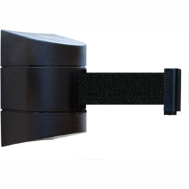 Tensabarrier Black Wall Mount 30'L Black Retractable Belt Barrier