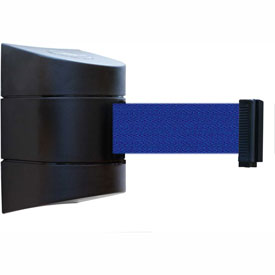 Tensabarrier Black Wall Mount 30'L Blue Retractable Belt Barrier