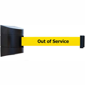 Tensabarrier Black Clamp Wall Mount 30'L BLK/YLW Out of Service Retractable Belt Barrier