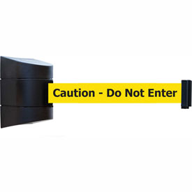 "Tensabarrier Black Wall Mount 30'L Black on Yellow ""Caution - Do Not Enter"" Retractable Belt Barrier"