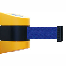 Tensabarrier Yellow Wall Mount 30'L Blue Retractable Belt Barrier