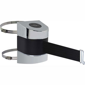 Tensabarrier Pol Chrome Clamp Wall Mount 24'L Black Retractable Belt Barrier
