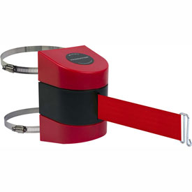Tensabarrier Red Clamp Wall Mount 24'L BLK/YLW Red Retractable Belt Barrier