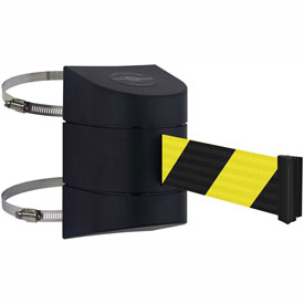 Tensabarrier Black Clamp Wall Mount 24'L Black/Yellow Chevron Retractable Belt Barrier