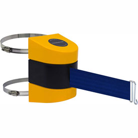 Tensabarrier Yellow Clamp Wall Mount 24'L Blue Retractable Belt Barrier